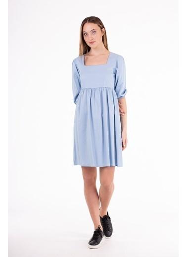 Stamina  Bayan Arkası Bağcıklı Turvakar Kol Elbise-5EL06 Mavi